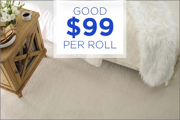 Good carpet remnants $99/roll during our Grand Opening Sale at Abbey Carpet & Floor Outlet!
