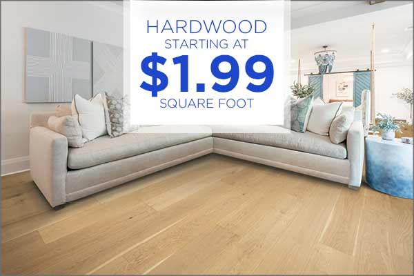 Hardwood $1.99 sq.ft. during our Grand Opening Sale at Abbey Carpet & Floor Outlet!