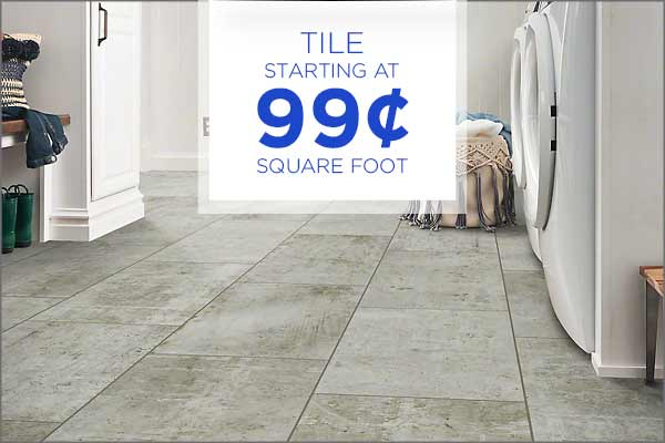 Tile starting at 99¢ sq.ft. during our Grand Opening Sale at Abbey Carpet & Floor Outlet!