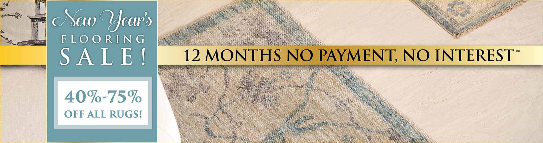 Save 40-75% off all area rugs during our New year's flooring sale at Abbey Carpet Naples