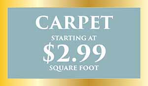 Carpet starting at $2.99 sq.ft. during our New year's flooring sale at Abbey Carpet Naples