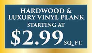 Hardwood & Luxury Vinyl Plank starting at $2.99 sq.ft. during our New year's flooring sale at Abbey Carpet Naples