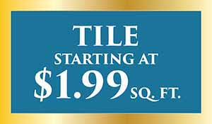 Tile starting at $1.99 sq.ft. during our New year's flooring sale at Abbey Carpet Naples