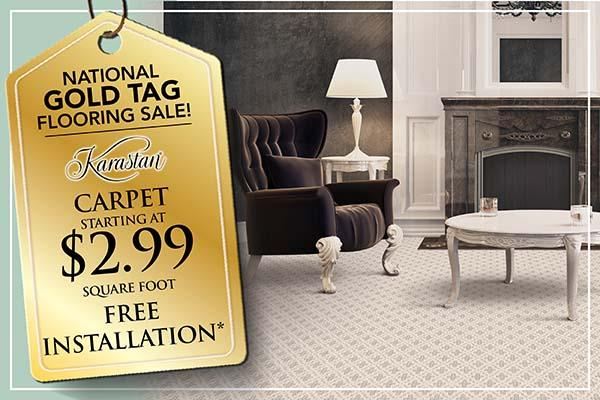 Karastan Carpet starting at 2.99 sq.ft plus free installation during the National Gold Tag Flooring Sale at Abbey Carpet & Floor in Naples, FL