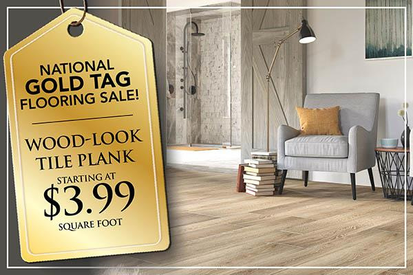 Wood-Look Tile Plank Flooring starting at 1.99 sq.ft plus free installation during the National Gold Tag Sale at Abbey Carpet & Floor in Naples, FL