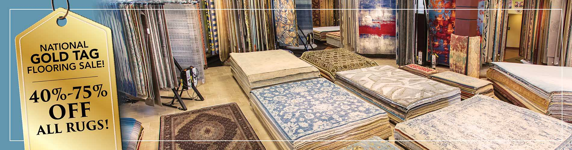 Save 40 to 70 percent off area rugs during our national gold tag flooring sale at Abbey Carpet in Naples