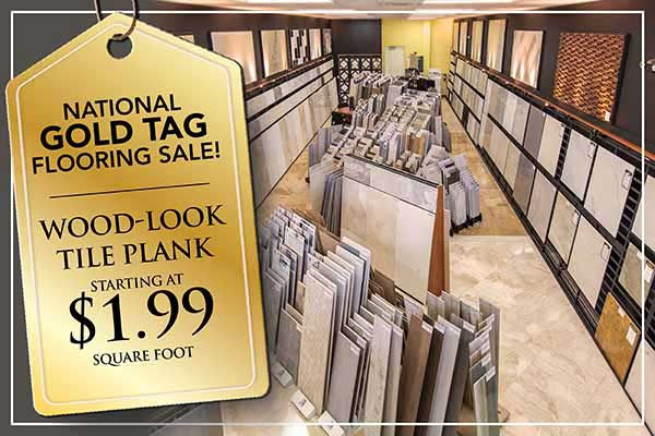 Wood-Look Tile Plank starting at $1.99 sq.ft during our national gold tag flooring sale at Abbey Carpet in Naples