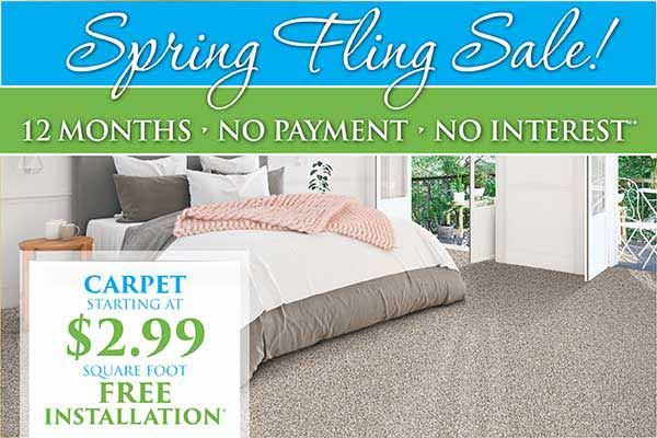 Carpet starting at $2.99 sq.ft. during our spring fling flooring sale at Abbey Carpet in Naples