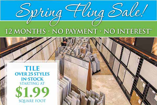 Tile starting at $1.99 sq.ft. during our spring fling flooring sale at Abbey Carpet in Naples